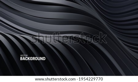 Abstract background with 3d curvy stripes. Wavy black ribbons backdrop. Soft elastic shapes. Vector illustration. Minimalist decoration for banner or cover design.