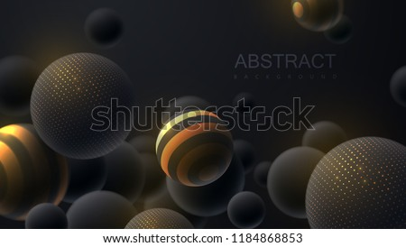 Abstract background with 3d dynamic spheres. Black bubbles. Vector illustration of balls textured with glittering paillettes and stripes. Modern cover concept. Decoration element for banner design stock photo