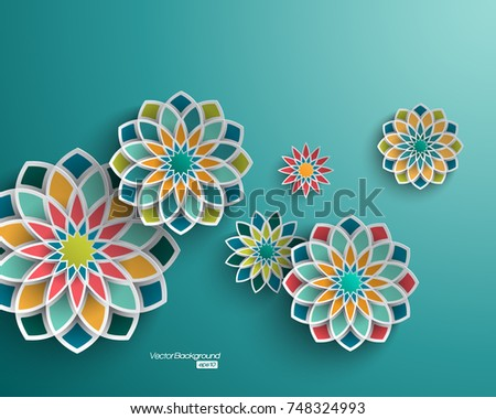 Abstract background with 3d floral elements #748324993