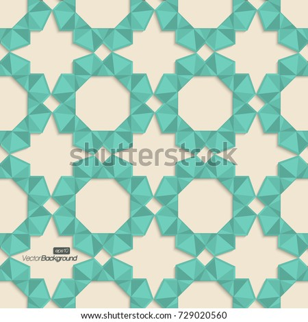 Abstract background with 3d geometric arabesque frames; seamless pattern; Islamic geometric design