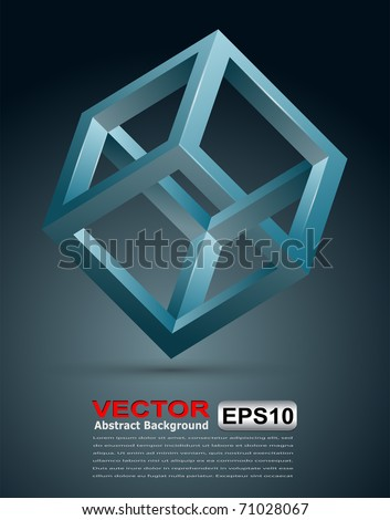 Abstract background with 3D impossible cube, vector illustration.