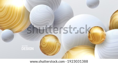 Abstract background with 3d marbled spheres. White and golden bubbles. Vector illustration of balls textured with wavy striped texture. Modern cover concept. Decoration element for banner design