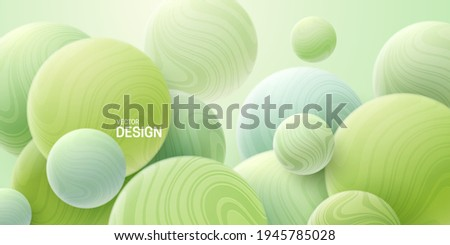 Abstract background with 3d mint green bubbles. Marbled spheres. Vector illustration of balls textured with wavy striped pattern. Modern cover concept. Decoration element for banner design