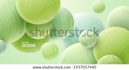 Abstract background with 3d mint green spheres. Marbled bubbles. Vector illustration of balls textured with wavy striped pattern. Modern cover concept. Decoration element for banner design