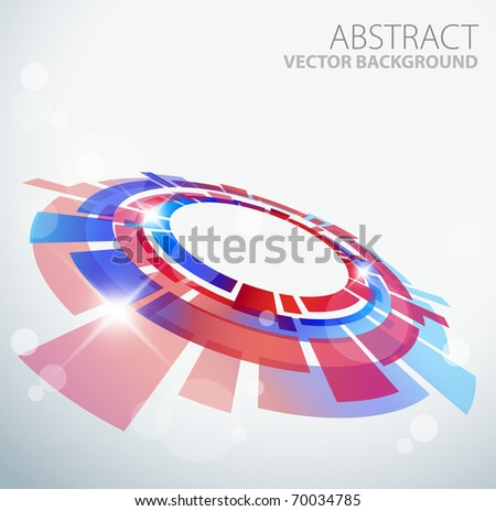 Abstract background with 3D red and blue object and place for your text