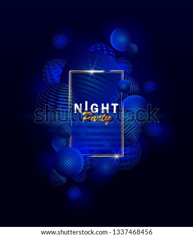 Abstract background with 3d spheres cluster. Blue neon bubbles. Vertical banner or poster design. Creaive flyer music show entertainment night club. - Vector. Abstract disco dance night party poster