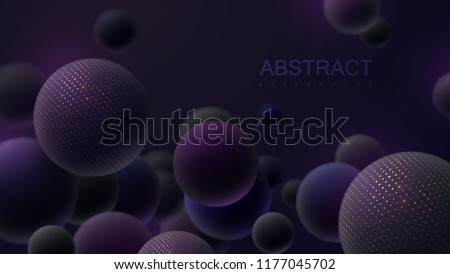 Abstract background with 3d spheres. Flowing bubbles or particles. Vector illustration of balls textured with glittering paillettes. Trendy cover concept. Horizontal banner. Decoration design element