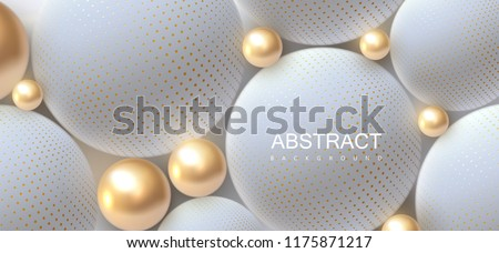 Abstract background with 3d spheres. Golden and white bubbles. Vector illustration of balls textured with halftone pattern. Jewelry cover concept. Horizontal banner. Decoration element for design stock photo