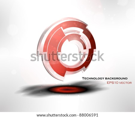 Abstract background with 3D technological object vector icon and place for your text, eps10.