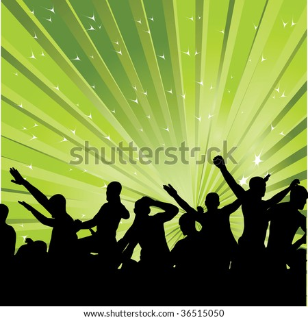 Abstract background with dancers in green color. Vector illustration