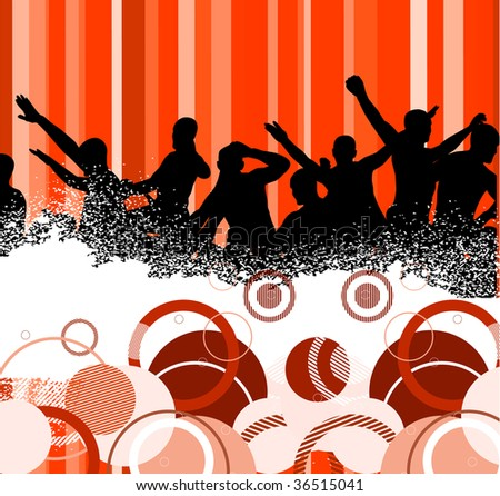 Abstract background with dancers in red color. Vector illustration