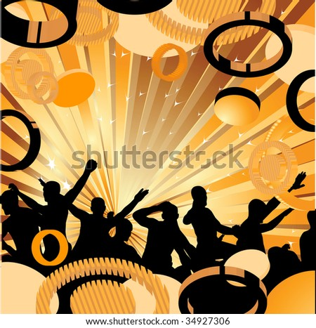 Abstract background with dancers. Vector illustration. Vector illustration