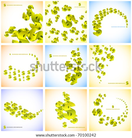 Abstract background with dollar sign. Vector set.