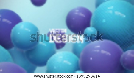 Abstract background with dynamic 3d spheres. Plastic pastel blue and violet bubbles. Vector illustration of glossy balls. Modern trendy banner or poster design