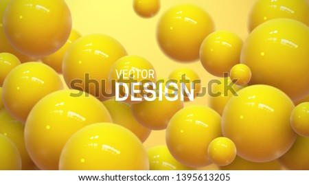 Abstract background with dynamic 3d spheres. Plastic yellow bubbles. Vector illustration of glossy balls. Modern trendy banner or poster design