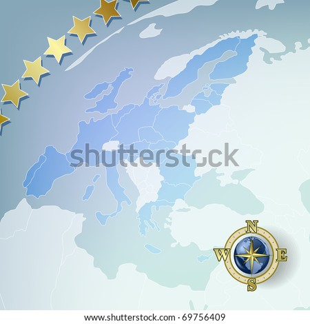 Abstract background with europe map and compass