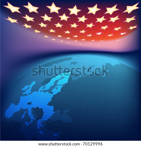 abstract background with europe map and stars