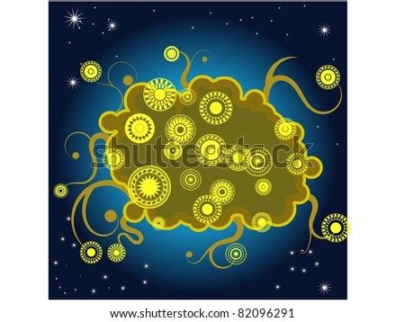 abstract  background with floral  elements and the stars