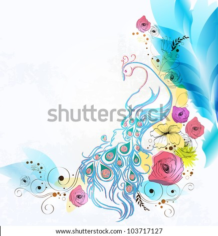 abstract background with floral elements.Vector  design