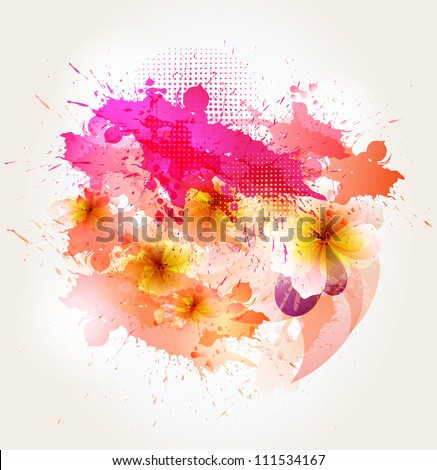 abstract background with  flower and pink blots. Vector design
