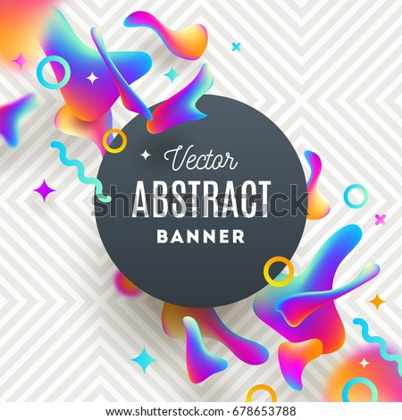 Abstract background with fluid multicolored drops and round banner for message. Vector design for covers, greeting card, poster or flyers.