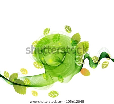 abstract background with fresh green leaves and wave, vector illustration for your design