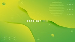 Abstract background with geometric shapes. Dynamic abstract composition Vector illustration. Design element for web banners, posters, green and yellow