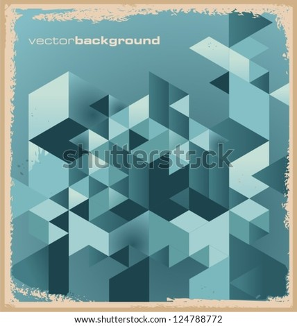 Abstract background with geometric shapes. Vector illustration. Retro texture with triangles.