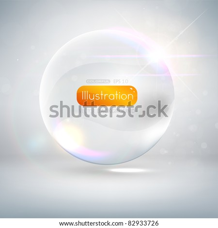 Abstract background with glass ball as vector speech bubble