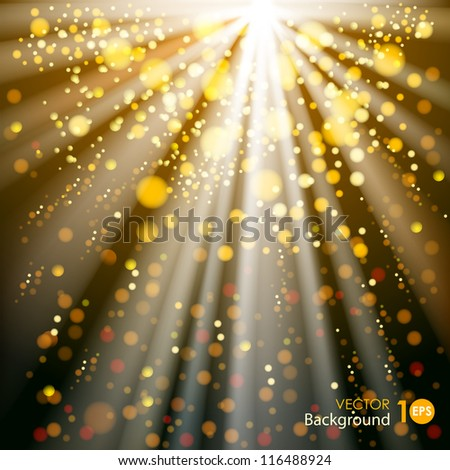 Abstract background with glowing circles and rays of light. Vector eps 10.