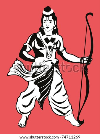 abstract background with god rama picture, vector illustration