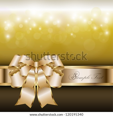 Abstract background with gold banner and a bow, vector.