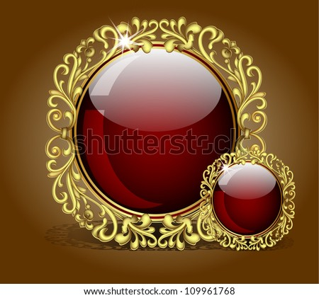 Abstract background with gold glass balls as vector speech - stock vector