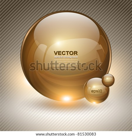 Abstract background with gold glass balls as vector speech bubble