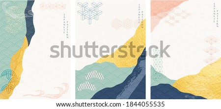 Abstract background with gold texture vector. Art acrylic element with Japanese wave pattern in oriental style.
