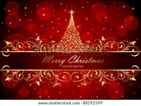 Abstract background with golden frame and Christmas tree, illustration