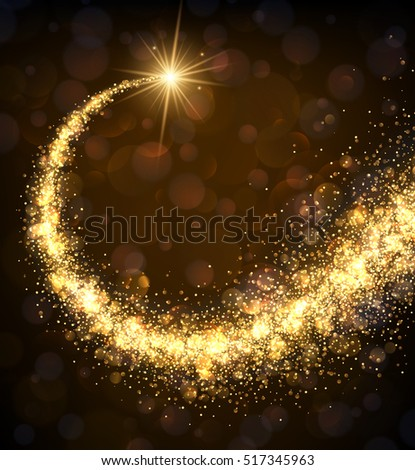 Abstract background with golden swirl. Vector winter illustration.