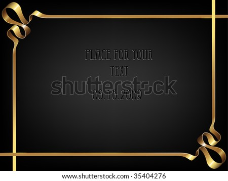 Abstract background with golden tape on black. There is a space for text. Vector illustration