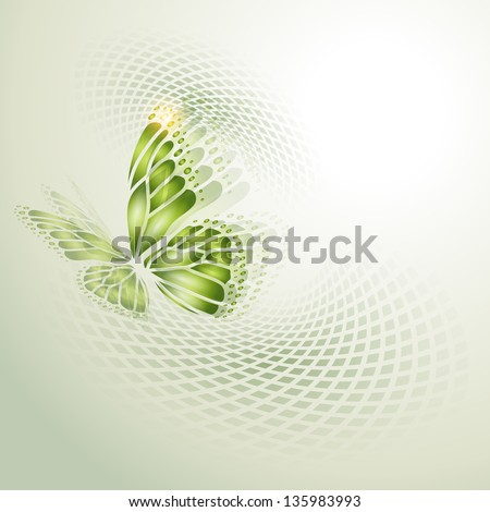 Stock Photo Abstract background with green butterfly