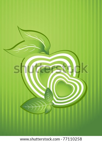 abstract background with green heart shape, nature leaf