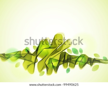 Abstract background with green wave and leaf, beautiful vector illustration