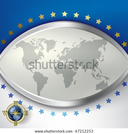 Abstract background with grey earth map and compass