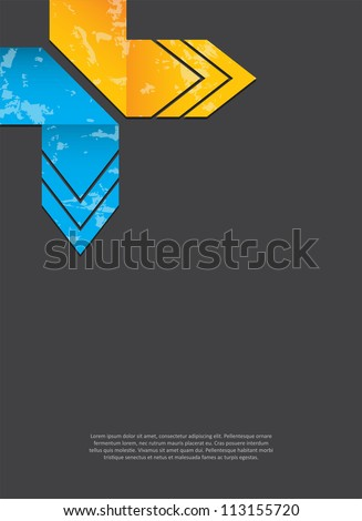 abstract background with grunge origami arrows