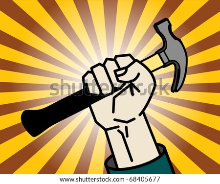Abstract background with hand holding a hammer, vector illustration