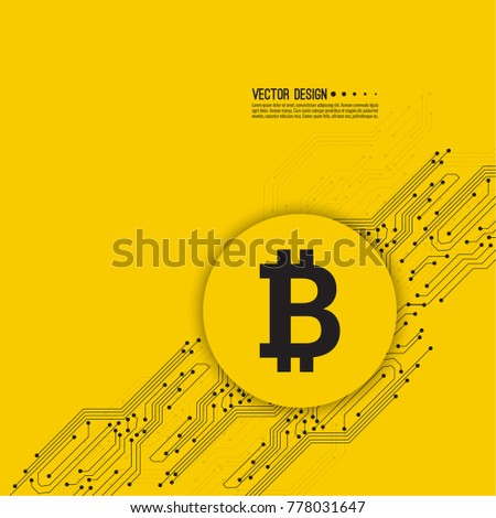 Abstract background with high tech circuit board texture. Vector illustration of  bitcoin digital cryptocurrency virtual money.
