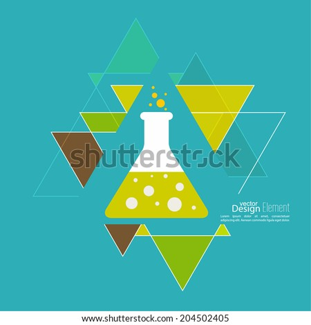 Abstract background with hipster triangles and flasks. Triangle pattern background. chemical flask with reagent. Research, the concept of science. flat design