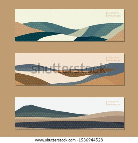 Abstract background with Japanese pattern vector. Landscape illustration with colorful geometric template. Mountain elongated format. Grunge texture. Foto stock ©