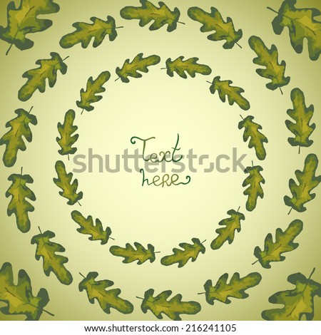 Abstract background with leaves. Watercolor paint. Autumn theme. Can be used for card, invitation or some text.