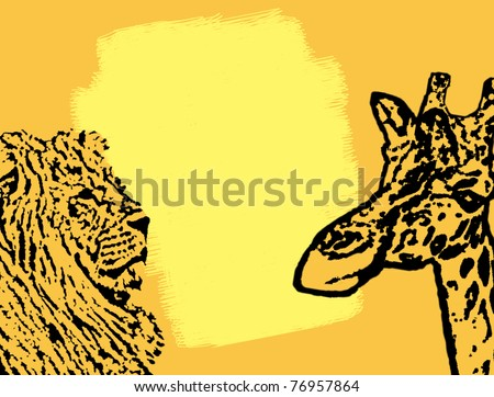 Abstract background with lion and giraffe stamp with space for text, vector illustration