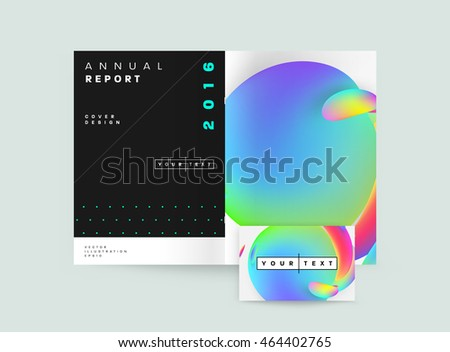 Abstract Background with Liquid Bubbles Shapes, Brochure Template Layout for Annual Report or Business Design. A4 Booklet. Circle Structures. Vector Illustration. #464402765